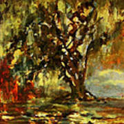 Light Through The Moss Tree Landscape Painting Art Print