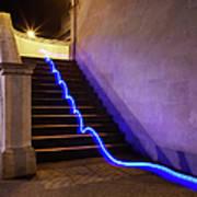 Light Trail On Steps Art Print