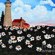 Lighthouse And Daisies Art Print