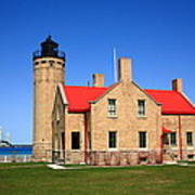 Lighthouse And Mackinac Bridge Art Print