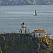 Lighthouse And Sailboat Art Print