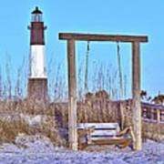 Lighthouse And Swing Art Print
