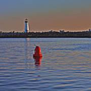 Lighthouse At Harbor Art Print