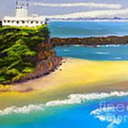 Lighthouse At Nobbys Beach Newcastle Australia Art Print