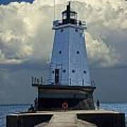 Lighthouse At The End Of The Pier In Ludington Michigan Art Print