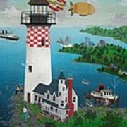 Lighthouse Fishing Art Print