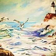 Lighthouse Gulls And Waves Art Print
