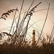 Lighthouse In The Distance Inn Sepia Art Print by Laurie Perry