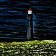 Lighthouse In The Night Art Print