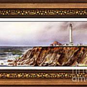 Lighthouse In Vintage Frame Art Print