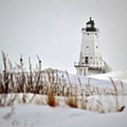 Lighthouse In Winter Art Print