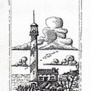 Lighthouse On A Cliff Pointillist Art Print