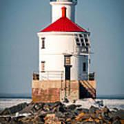 Lighthouse On The Rocks Art Print