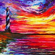 Lighthouse - Palette Knife Oil Painting On Canvas By Leonid Afremov Art Print
