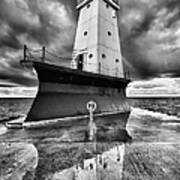 Lighthouse Reflection Black And White Art Print