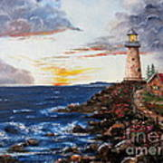Lighthouse Road At Sunset Art Print