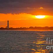 Lighthouse Sun Reflections Art Print