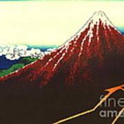 Lightning Below Red Fuji 1826 Art Print