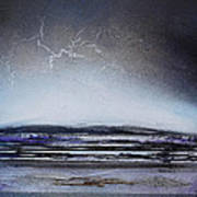 Lightning Storm Druridge Bay 1 Art Print by Mike   Bell