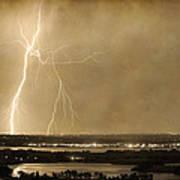 Lightning Strike Boulder Reservoir And Coot Lake Sepia 2 Art Print