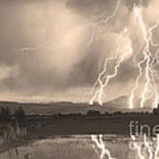 Lightning Striking Longs Peak Foothills Sepia 4 Art Print
