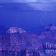 Lightning Strkes At The North Rim Grand Canyon National Park Art Print