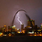 Lightning With The St Louis Arch Art Print