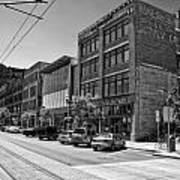 Light Rail Line And Old Downtown Buildings_bwhdr Art Print