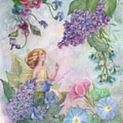 Lilac Enchanting Flower Fairy Art Print