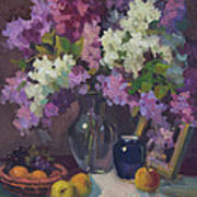 Lilacs And Blue Vase Art Print
