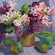 Lilacs And Pears Art Print