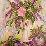 Lilacs And Peony Art Print