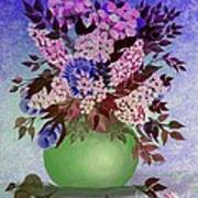 Lilacs And Queen Anne's Lace In Pink And Purple Art Print