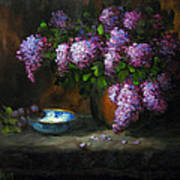 Lilacs In Copper Pot Art Print