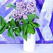 Lilacs With Abstract Art Print