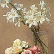 Lilies In A Vase Art Print