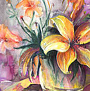 Lilies In A Vase Art Print