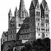 Limburg Cathedral Beautiful Detailed Woodblock Print Art Print by Christos Georghiou