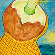 Lime Coconut Pineapple Guitar Art Print