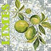 Limes On Damask Art Print