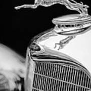 Lincoln Hood Ornament - Grille Emblem -1187bw Art Print