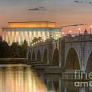 Lincoln Memorial And Arlington Memorial Bridge At Dawn I Art Print