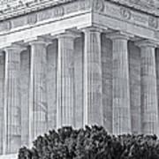 Lincoln Memorial Pillars Bw Art Print