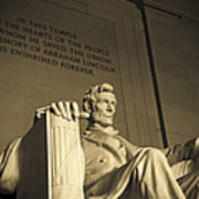 Lincoln Statue In The Lincoln Memorial Art Print by Diane Diederich