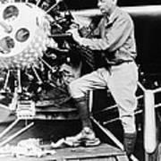 Lindbergh Tunes Up Plane Art Print