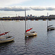 Line Of Boats On The Charles River Art Print