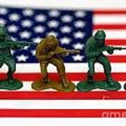 Line Of Toy Soldiers On American Flag Shallow Depth Of Field Art Print by Amy Cicconi
