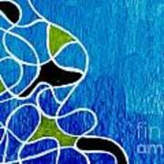 Linework Blue Art Print