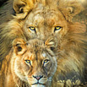 Lion And Lioness- African Royalty Art Print