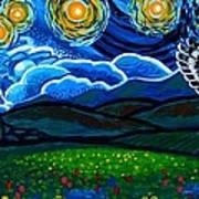 Lion And Owl On A Starry Night Art Print